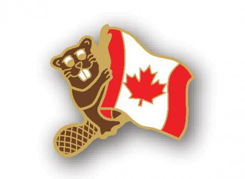 Lapel Pin: Canada Flag with Beaver