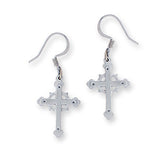 Drop Earrings: Acadian Cross Hand Crafted Pewter