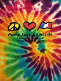 T-Shirt: Youth Peace Love w Acadian Flag
