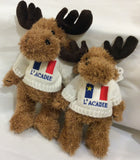 "Cuddle Toy: 10"" Brown Moose with Acadian Sweater"