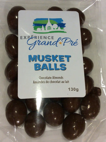 Chocolate Covered Almond Sweet Treat Musket Balls: Custom with Grand-Pré logo 130g Bag
