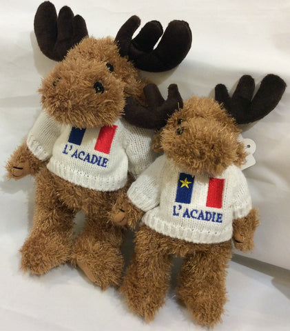 "Cuddle Toy: 8"" Brown Moose with Acadian Sweater"