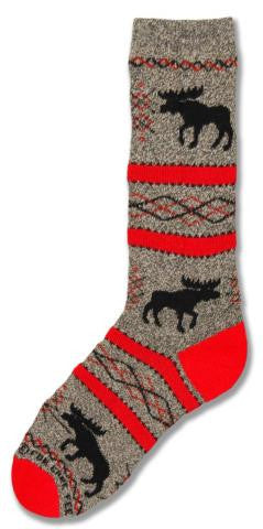 Cotton Socks: Moose Silhouette Red