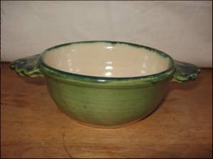 Saintonge Pottery: Porringer with White Glaze