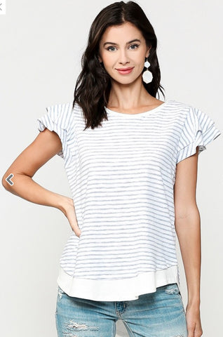 Blu Heaven Pinstriped Tiered Ruffle Sleeve Tunic Top with Rounded Hem