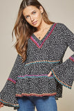 Savannah Jane Black and White Leopard Babydoll Tunic with Embroidered Accents