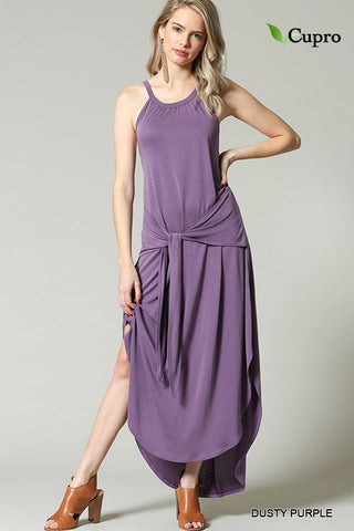 Blu Heaven Dusty Purple Tie Front Halter Maxi Dress
