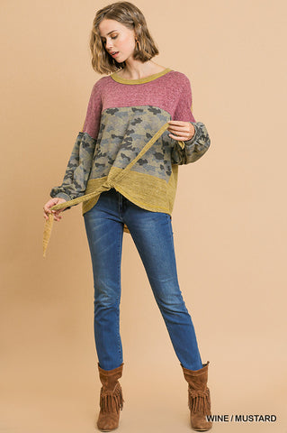 Umgee Heathered Knit and Camo Print Long Puff Sleeve with Waist Tie Top