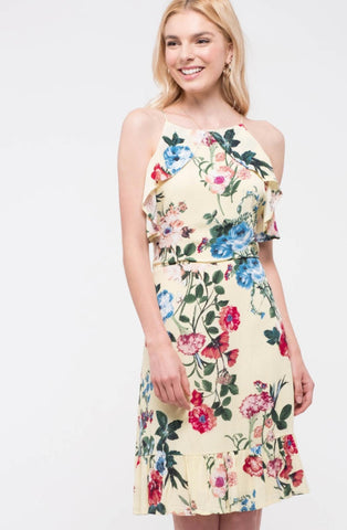 Blu Pepper Floral Ruffle  Halter Midi Dress