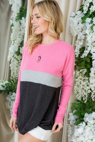Adora Color Block Crew Neck Twist Front Top