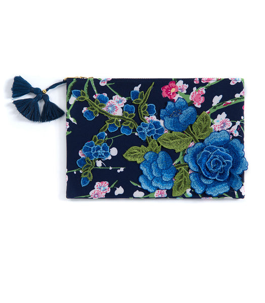 Shiraleah Chicago Daphne Floral Clutch-Blue