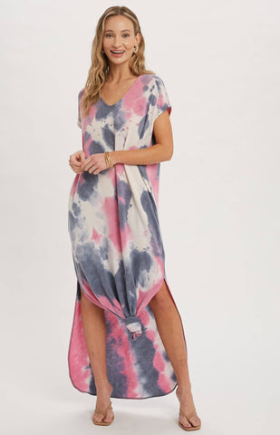 Bluivy Tie Dye Maxi Jersey  Dress with Pockets