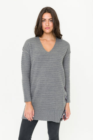 Mystree V-Neck Side Tie Tunic Sweater