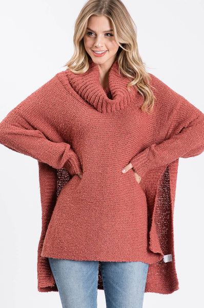 Allie Rose Cognac High Low Multi-Wear Cowl Tunic Sweater