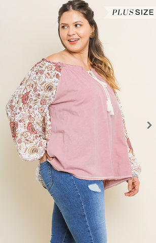 Blu Heaven Floral Print Sleeve Off Shoulder Top-PLUS SIZE