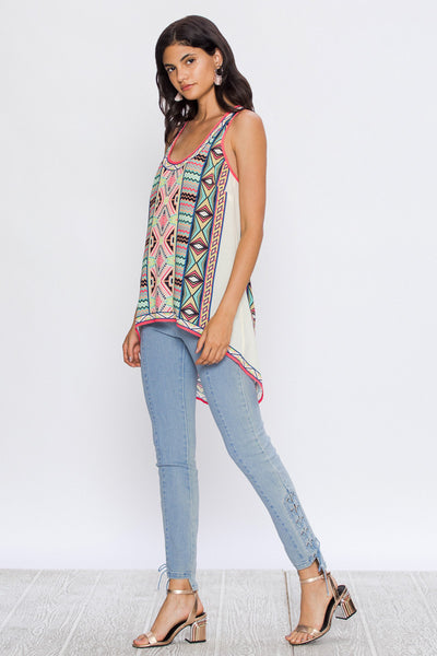 Flying Tomato High Low Aztec Print Tank Top