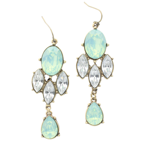 Jane Marie Mint Rhinstone Chandelier Statement Earrings
