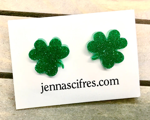 Jenna Scifres Glitter Green Clover Stud Earrings