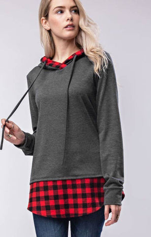 12 PM Grey Hoodie Detailed with Red Buffalo Plaid