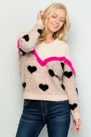 See and Be Seen Heart Print Sweater