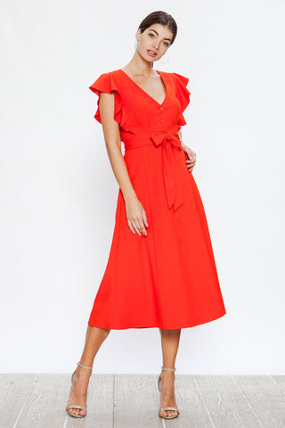Jealous Tomato Coral Ruffle Sleeve Midi Dress