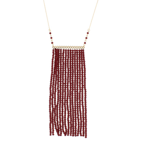 "Jane Marie Red Beaded Tassel Bar 32"" Necklace"