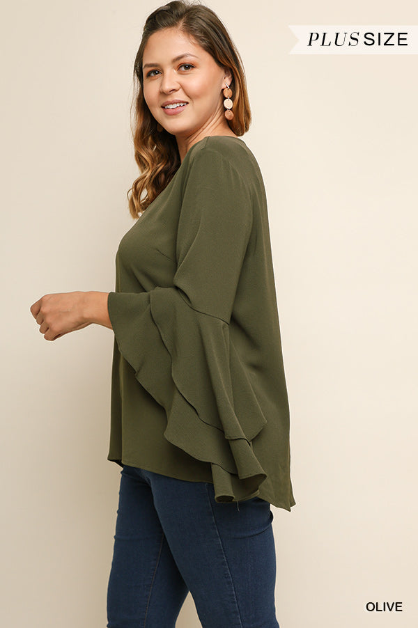 34d5941801c Umgee Ruffle Bell Sleeve V Neck Top-PLUS SIZE – ReFINE309