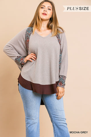 Umgee Scarf Print Long Sleeve Waffle Knit Top-PLUS SIZE