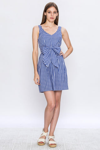 Flying Tomato Blue Gingham Tie Waist Dress