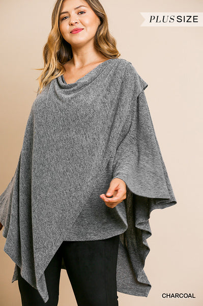 Umgee Charcoal Heathered Knit Cowl Neck Poncho Tunic-PLUS SIZE