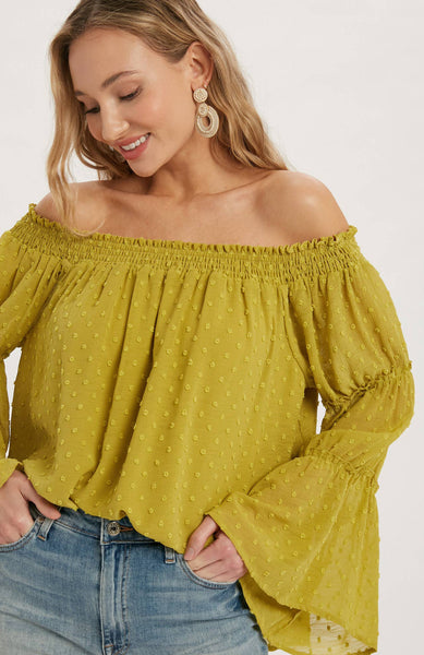 Bluivy Swiss Dot Chiffon Off Shoulder Blouse