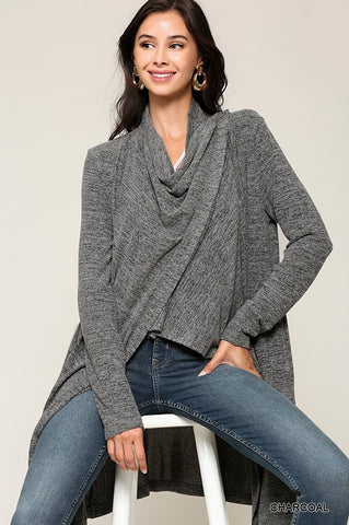 Blu Heaven Grey Shawl Button Cardigan