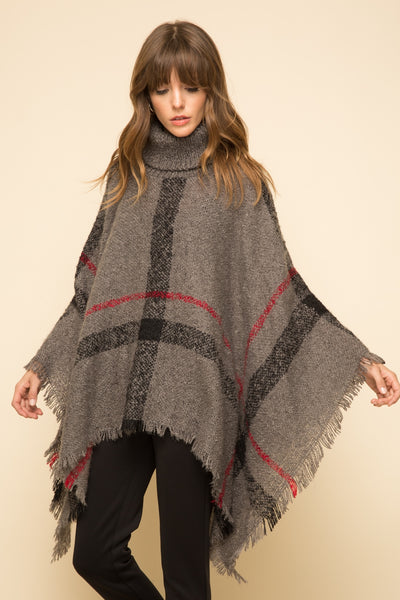 Mystree Charcoal Plaid Turtleneck Cape Poncho
