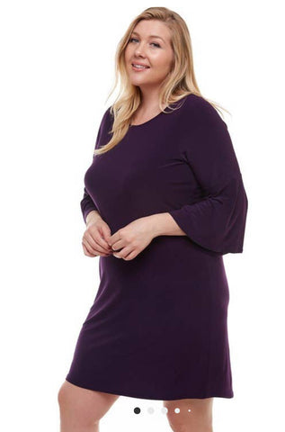 Azules Eggplant Bell Sleeve Dress-PLUS SIZE