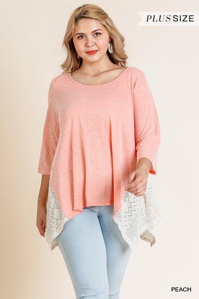 Umgee Heathered Round Neck Top with Lace Sharkbite Hem-PLUS