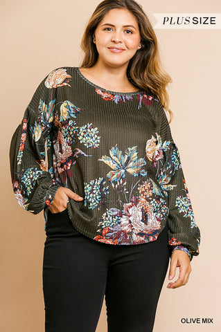 Umgee Floral Thermal Knit Long Sleeve Top-PLUS SIZE