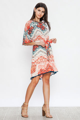 Jealous Tomato Mixed Print Fit and Flare Dress with Tie Belt