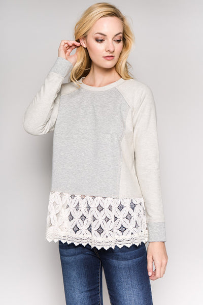 See and Be Seen Lace Bottom Sweatshirt