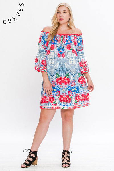 Flying Tomato Aztec & Floral Print Off the Shoulder Shift Dress