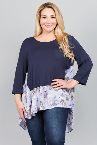 See and Be Seen Navy Floral Accented Tunic-PLUS SIZE