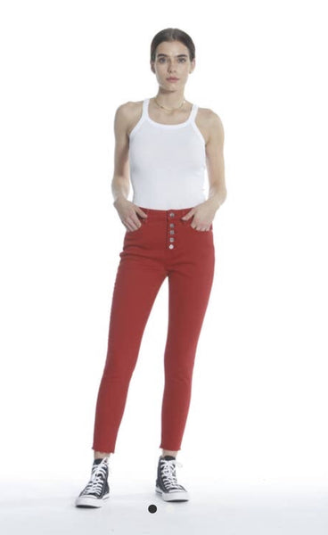 Vigoss Red Ace High Rise Exposed Botton Fly Raw Hem Stretch Jeans