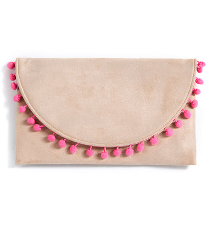 Shiraleah Chicago Dalia Pink Pom Pom Accented Clutch