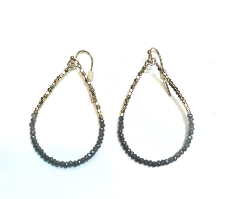 Meghan Browne Ripa Hematite Gold Teardrop Dangle Earrings
