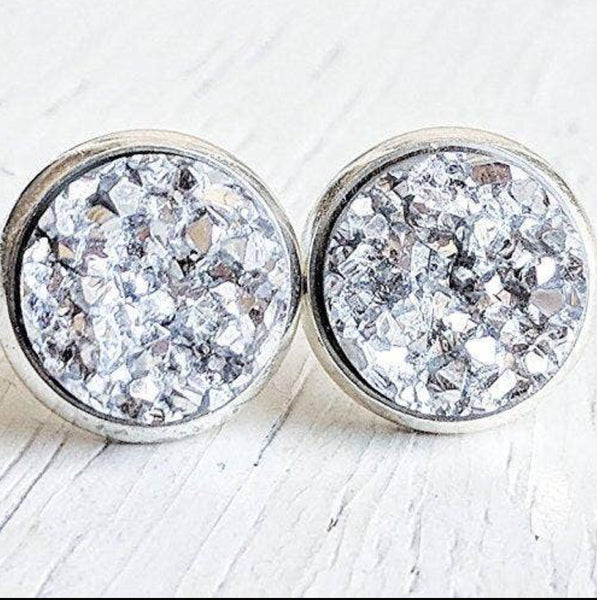 Jenna Scifres Silver Druzy Stud Earrings