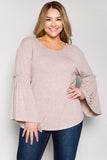 See and Be Seen Mauve Bell Sleeve Tie Back Top-PLUS SIZE