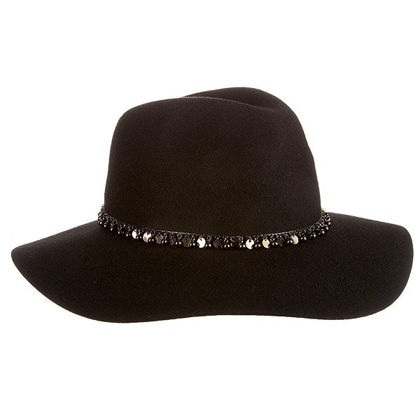Scala Felt Boho Hat with Silver Charms