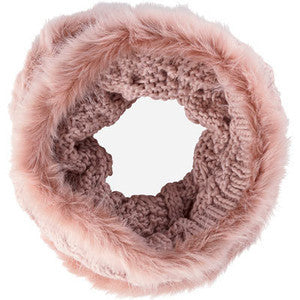 San Diego Hat Company Blush Cable Knit Snood with Faux Fur Trim