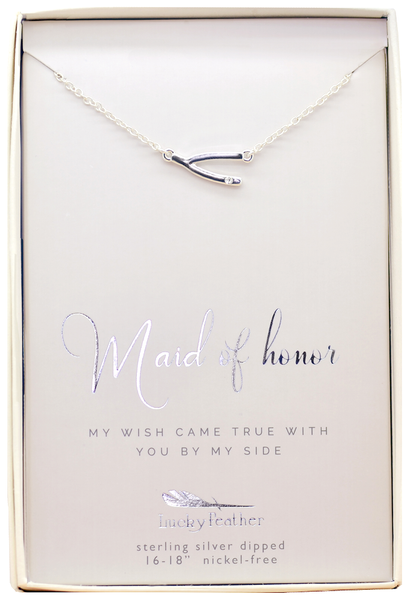 Lucky Feather Maid of Honor Thanks Necklace