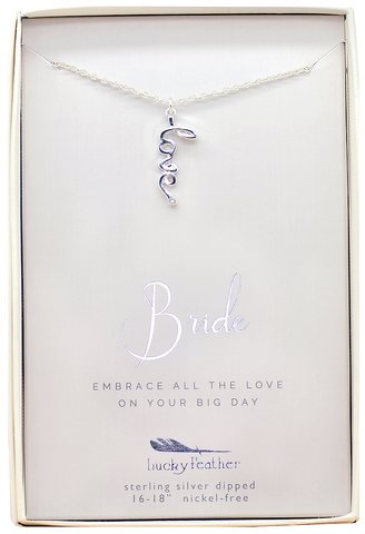 Lucky Feather Bride LOVE Necklace