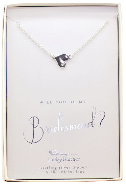 Lucky Feather Bridesmaid Heart Necklace